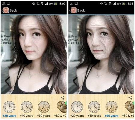 Gương mặt của 20 năm sau (trái) và 60 năm sau (phải)