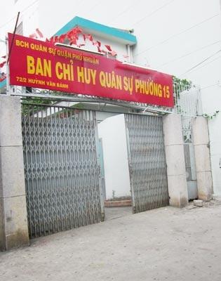 Căn nhà số 72/2 Huỳnh Văn Bánh là BCH Quân sự phường 15, quận Phú Nhuận.