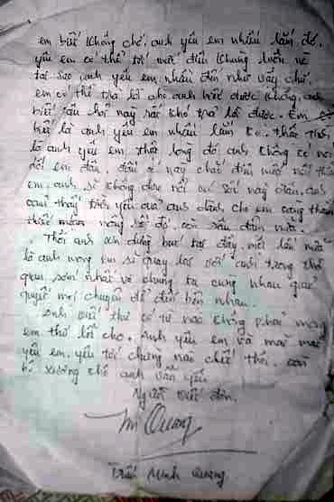 Bức thư tình là nguồn cơn của bi kịch gia đình anh Linh – chị Lãnh