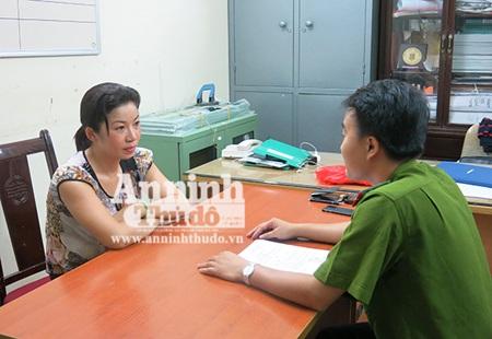 Chu Thị Hằng tại cơ quan công an, sau khi bị bắt