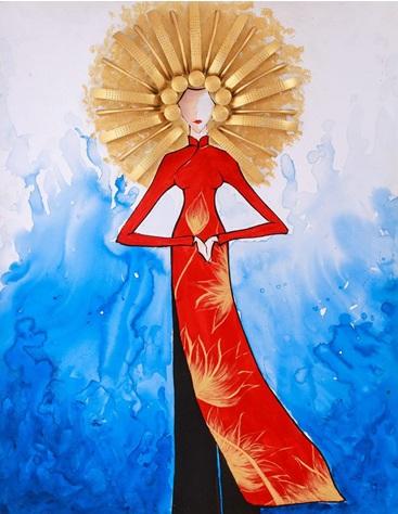 """""""Áo dài, khăn đóng"""" là bức tranh của bạn Phan Vị Hán."""