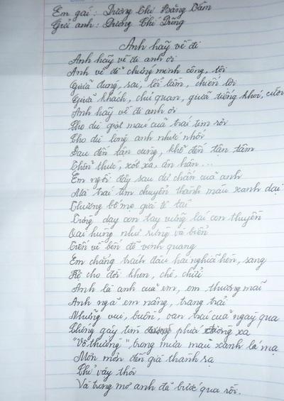 Bài thơ tâm thư mà bà Dương Thị Băng Tâm viết để kêu gọi anh trai ra đầu thú.