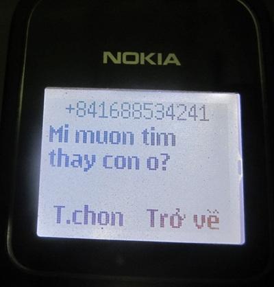 Một trong những tin nhắn mà gia đình anh Cúc nhận được sau khi con trai mất tích