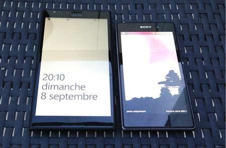 Phablet mới nhất Lumia 1520 của Nokia so dáng cùng Xperia của Sony