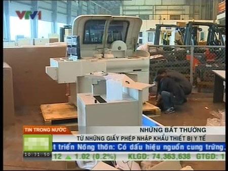 Đài Truyền hình Việt Nam đưa tin về các thiết bị y tế cũ tại công ty Bảo Trân.
