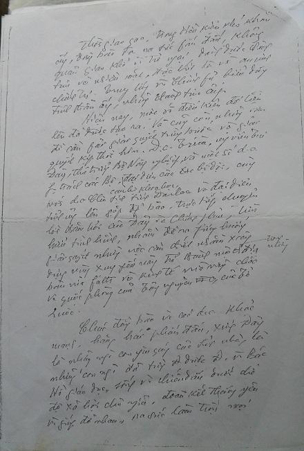 """Bức thư của Đại tướng gửi """"Anh chị em vùng kinh tế mới Ea Súp"""", năm 1978 (bản sao)."""