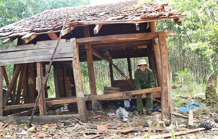 Một chòi rẫy ở xã Đắk Drông, huyện Cư Jút, Đắk Nông bị voi rừng phá tung vào đầu tháng 12 này.