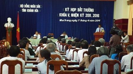 Kỳ họp bất thường bầu bổ sung chức vụ Phó Chủ tịch UBND tỉnh Khánh Hòa, sáng 7/4.