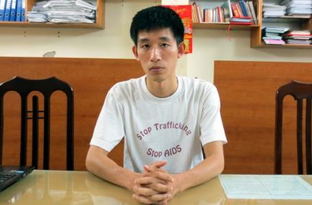 Nguyễn Khánh Thành tại cơ quan công an.