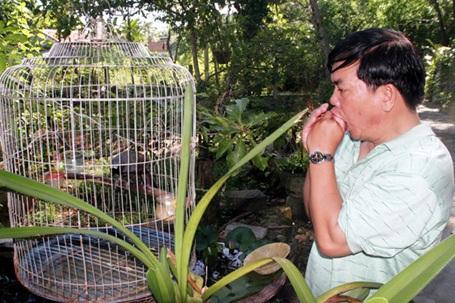 """Ông Cảm đang """"tán tỉnh"""" với chú chim khứu nuôi trong nhà 15 năm nay."""