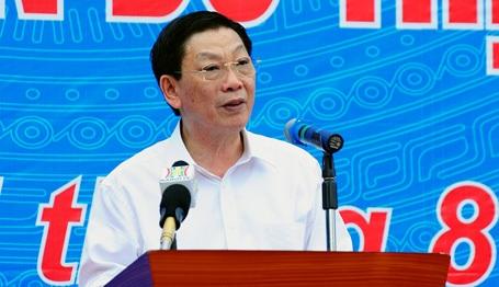 Chủ tịch UBND TP Hà Nội Nguyễn Thế Thảo phát biểu tại buổi lễ ra quân.