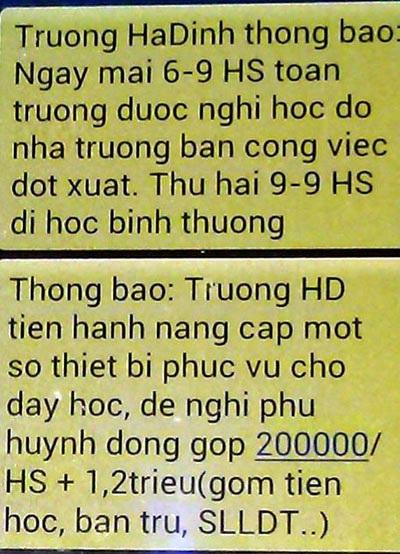 Tin nhắn thất thiệt được gửi đến các phụ huynh trường tiểu học Hạ Đình.