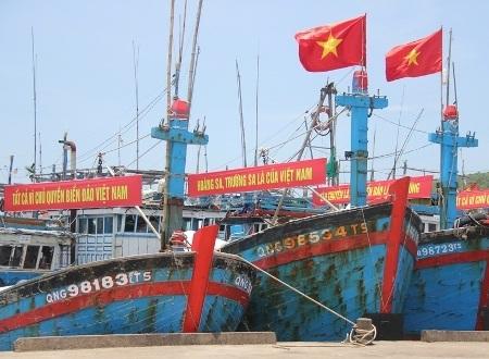 Các khẩu hiệu khẳng định chủ quyền biển đảo Việt Nam ở Hoàng Sa, Trường Sa.