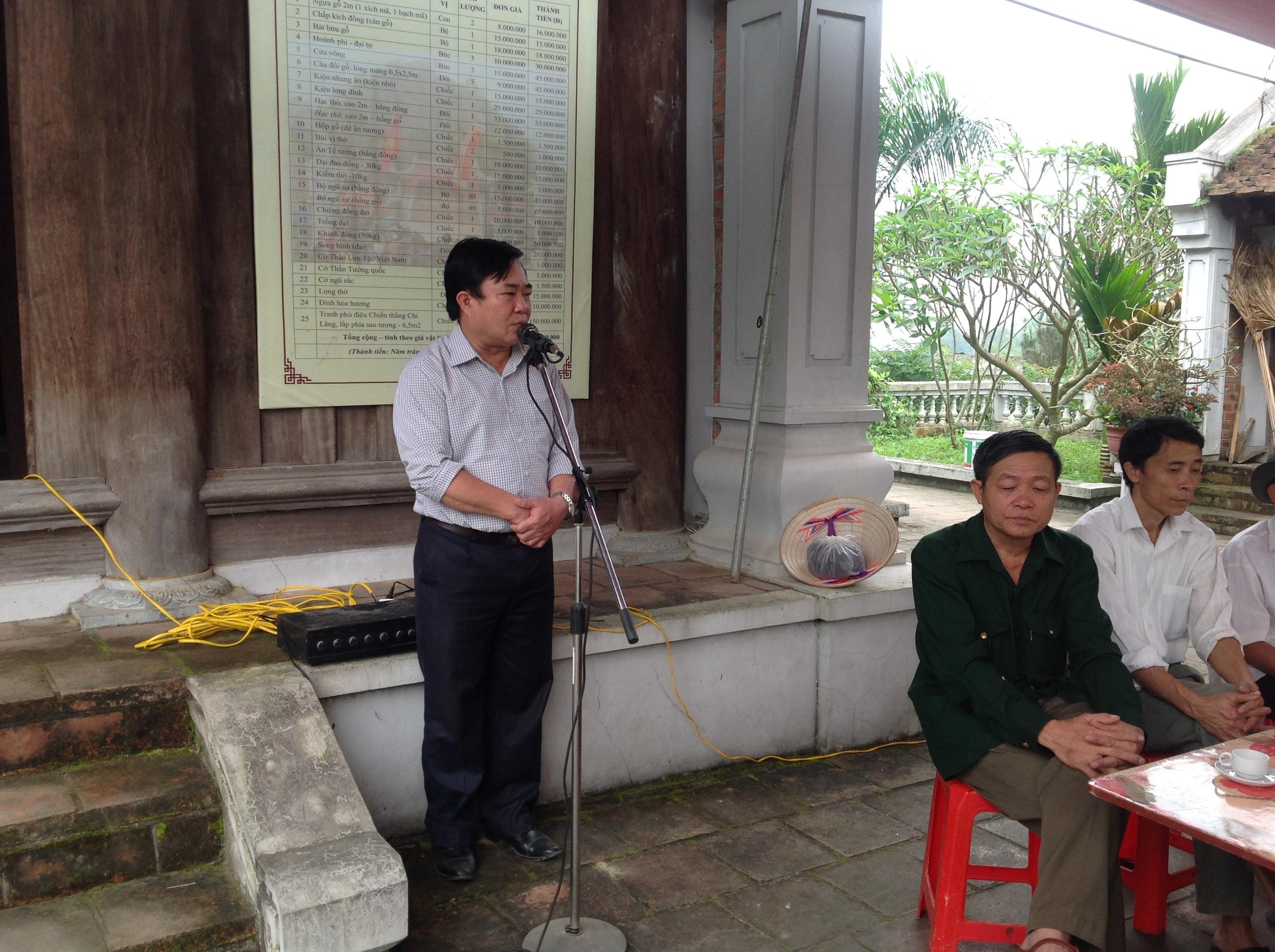 Ông Ngô Ngọc Thanh - Bí thư Đảng ủy xã Văn Yên phát biểu.