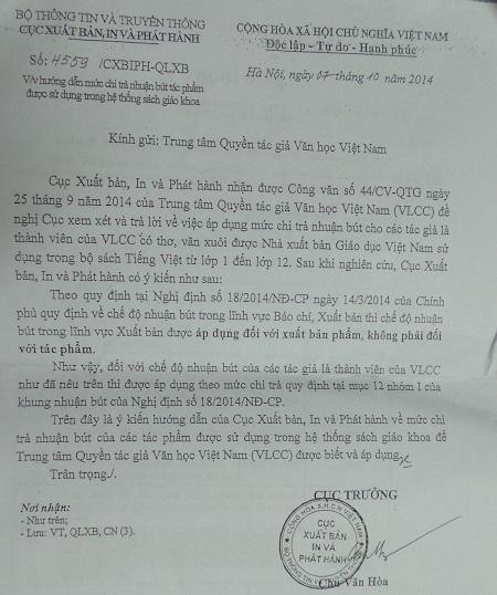 Cục Xuất bản chính thức có văn bản trả lời VCLL về mức chi trả nhuận