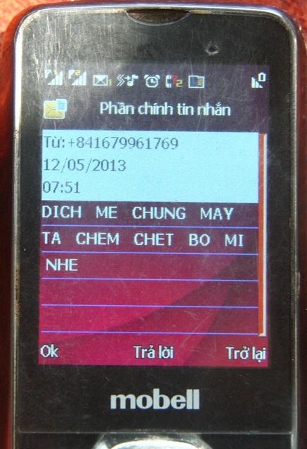 Tin nhắn đe dọa gửi đến máy ông Dũng