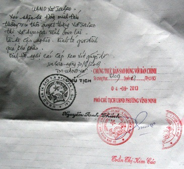 Xác nhận của chủ tịch xã Iasao về hoàn cảnh khó khăn của gia đình anh Đức