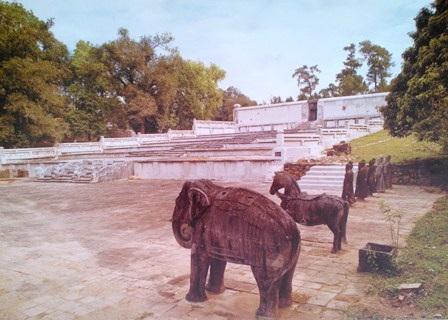 Ngựa đá và voi đá trong sân chầu vua Gia Long