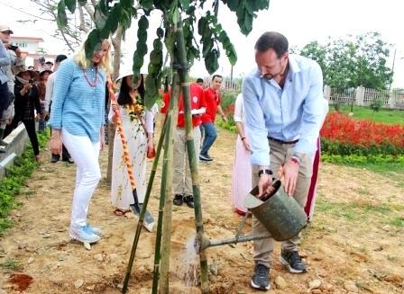 Trồng cây, tưới nước tại sân trường