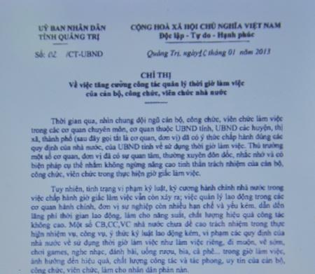 Chỉ thị do UBND tỉnh Quảng Trị vừa ban hành (Ảnh: Nguyễn Tuấn)