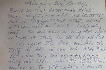 Bức tâm thư của bác Lê Viễn (ảnh An Hưng)
