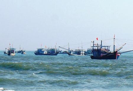 Tàu thuyền ngư dân Tam Tiến đánh bắt tôm hùm con tại khu vực sát bờ ở biển Bàn Than, Núi Thành.