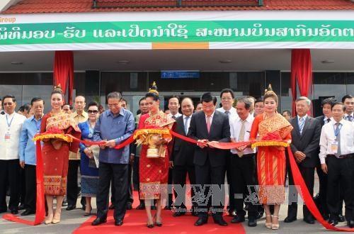 Chủ tịch nước Trương Tấn Sang dự lễ khánh thành sân bay quốc tế Át-ta-pư