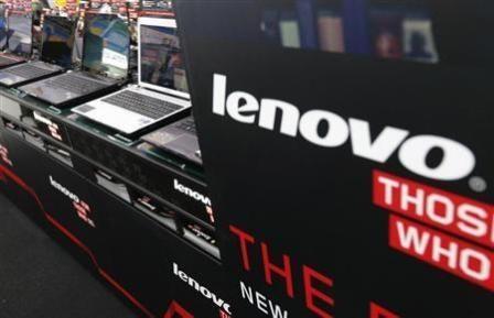Áp phích quảng cáo máy tính Lenovo của Trung Quốc tại một cửa hàng. Ảnh: Internet