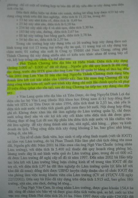Kết luận của Thanh tra Chính phủ về sai phạm và nguồn gốc đất của Phủ Thành Chương