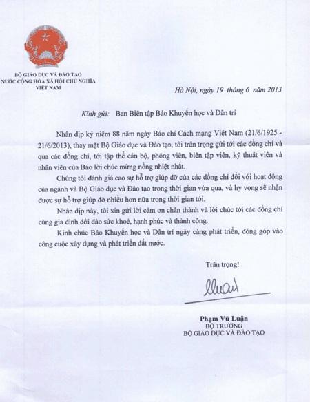 Thư cảm ơn và chúc mừng của Bộ trưởng Bộ GD&ĐT Phạm Vũ Luận gửi tới Báo Dân trí