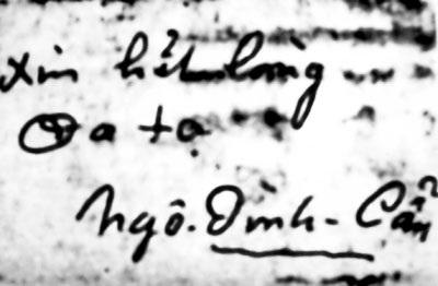 Bút tích của Ngô Đình Cẩn.