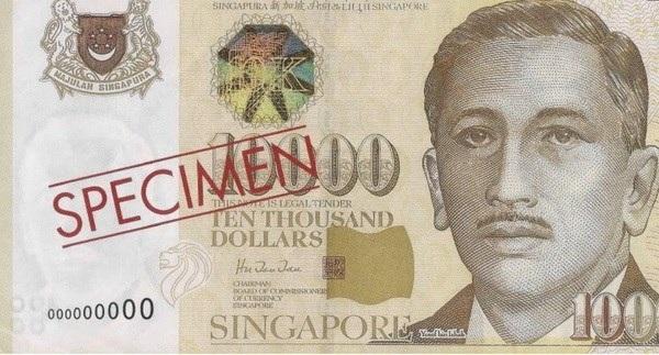 Tờ 10.000 SGD. (Nguồn: MAS)