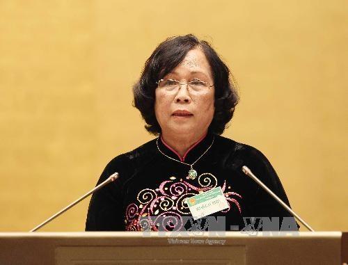 Bộ trưởng Bộ lao động-thương binh và xã hội Phạm Thị Hải Chuyền. Ảnh: Nhan Sáng - TTXVN