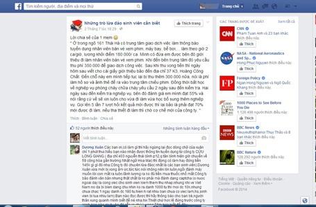 Nhiều chia sẻ cảnh báo những mánh lừa đảo việc làm được đăng trên mạng