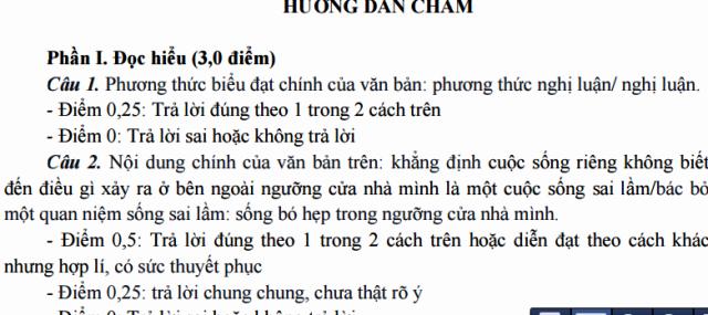 Đáp án môn Ngữ Văn kỳ thi thử THPT ở TPHCM