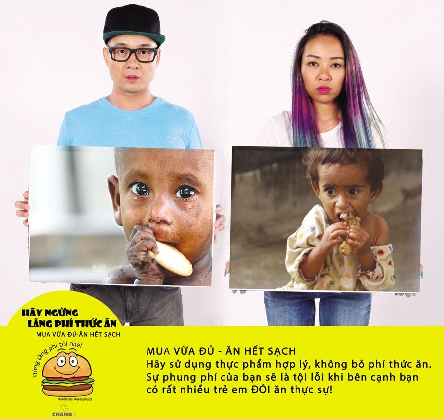 Ca sĩHà Okio và Thảo Trang trong bộ ảnh chiến dịch kêu gọi ngừng lãng phí thức ăn