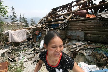 100% nhà lợp tấm pro xi-măng bị phá hủy hoàn toàn.
