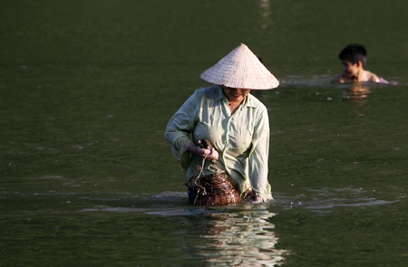 Một phụ nữ đang bắt tôm trên mặt hồ Noong nằm trên dãy núi Tây Côn Lĩnh, Hà Giang.