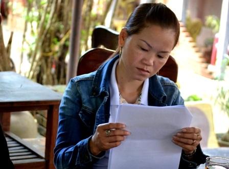 Chị Thuận tiếp xúc với PV