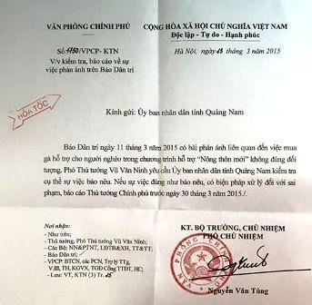 """Vụ """"gà đi lạc"""": Phó Thủ tướng yêu cầu Quảng Nam kiểm tra sự việc"""