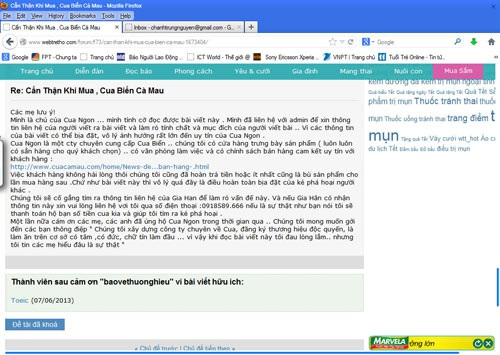 Bài viết bêu xấu Công ty TNHH Cua Ngon không bị xóa mà vẫn tiếp tục tồn tại trên Webtretho