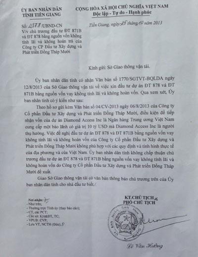 Công văn của UBND tỉnh Tiền Giang từ chối khoản viện trợ cho không khoảng 4.200 tỉ đồng