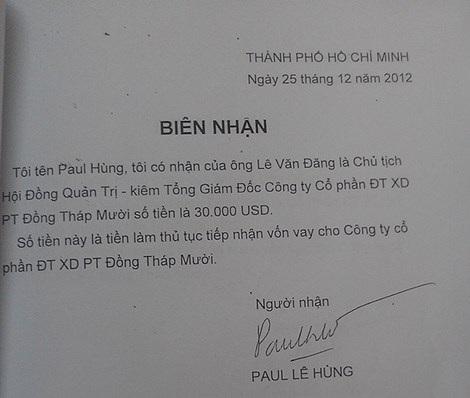 """Các """"biên nhận"""" nhận tiền của ông Paul Lê Hùng."""
