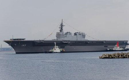 Nhật trình diễn sức mạnh hải quân với Tàu khu trục trực thăng Izumo (ảnh: Asahi)