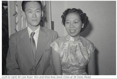 Ông Lý Quang Diệu và bà Kha Ngọc Chi thời trẻ (Ảnh: Asia One)