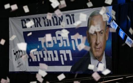 Thủ tướng Israel Netanyahu giành ưu thế sít sao trong cuộc bầu cử Quốc hội (Ảnh AP)