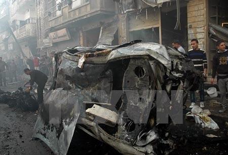Hiện trường một vụ đánh bom tại Syria (Nguồn: AFP/TTXVN)