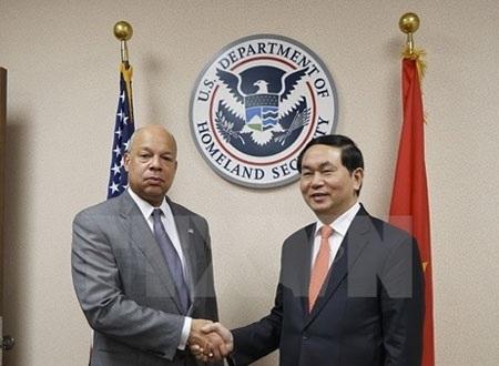 Bộ trưởng Trần Đại Quang và Bộ trưởng An ninh nội địa Hoa Kỳ