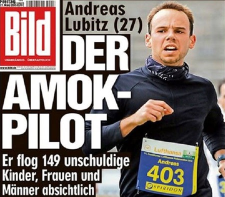 Cơ phó Andreas Lubitz được cho là đã chốt cửa buồng lái và tự sát (Nguồn: Bild)