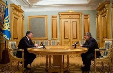 Tổng thống Ukraine Petro Poroshenko (trái) và nhà tài phiệt Igor Kolomoisky